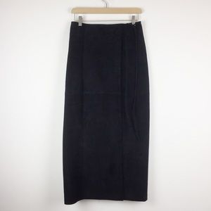 Vintage suede wrap skirt black real leather long